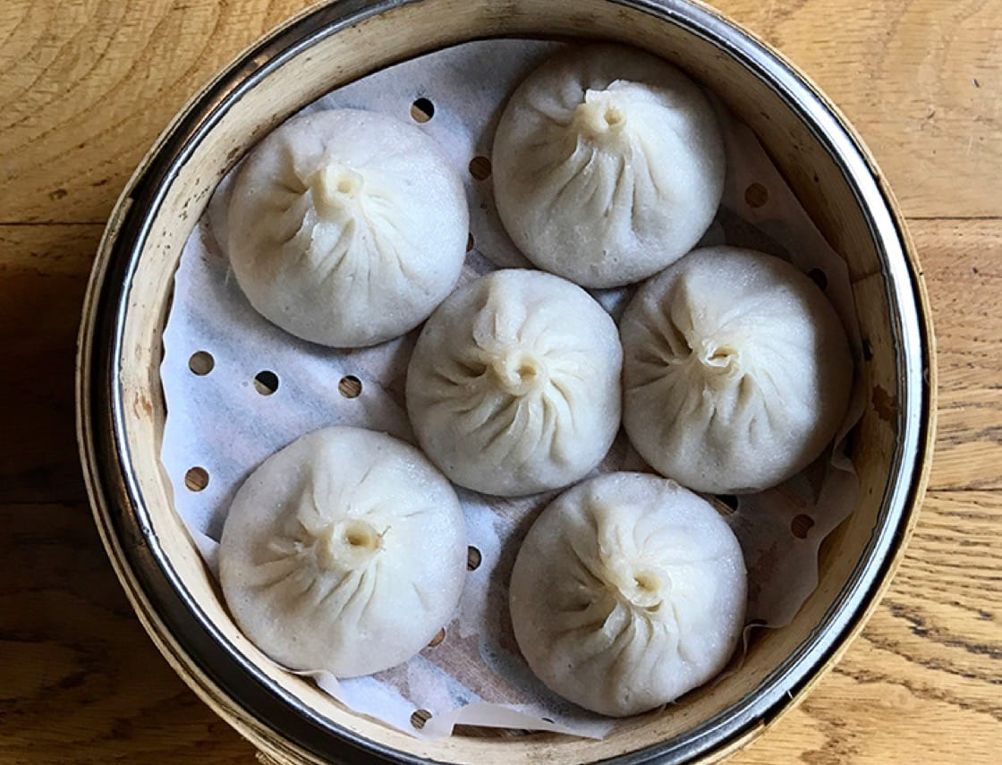 The soup dumplings from Kung Fu Little Steamed Buns Ramen in New York City.