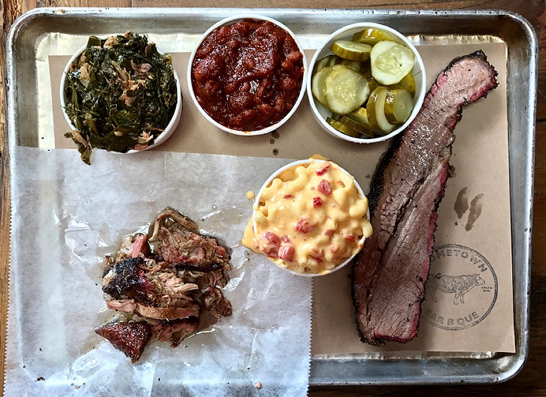 A barbecue platter from Hometown Bar-B-Que in New York City.