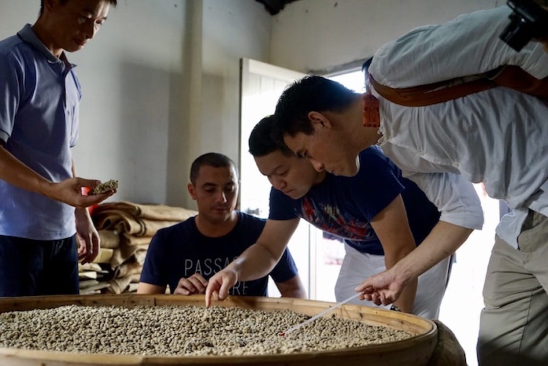 The three chefs observing the production process of Sinhong soy sauce at the workshop in Yunlin County. (Photo by Liz Kao)
