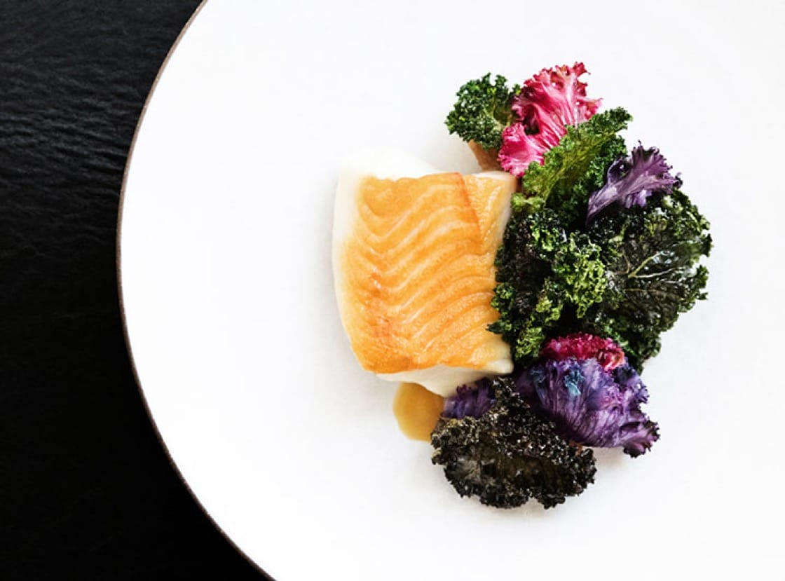 Black cod with red kale and horseradish is noted as a stand-out dish at NoMad LA.