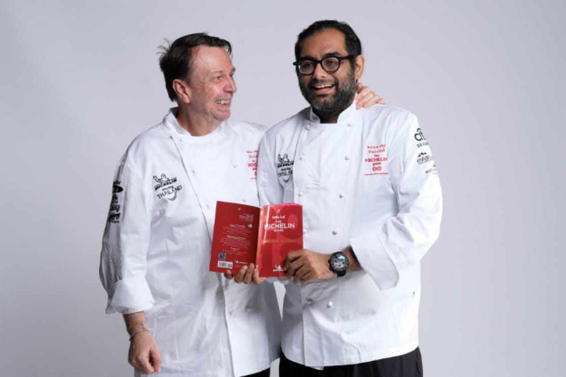 <i>Longtime friends: Chef David Thompson from Nahm (left) and Gaggan Anand </i>