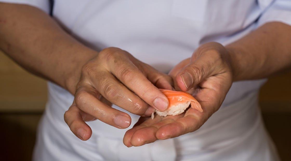 Chef Tatsu preparing sockeye salmon.