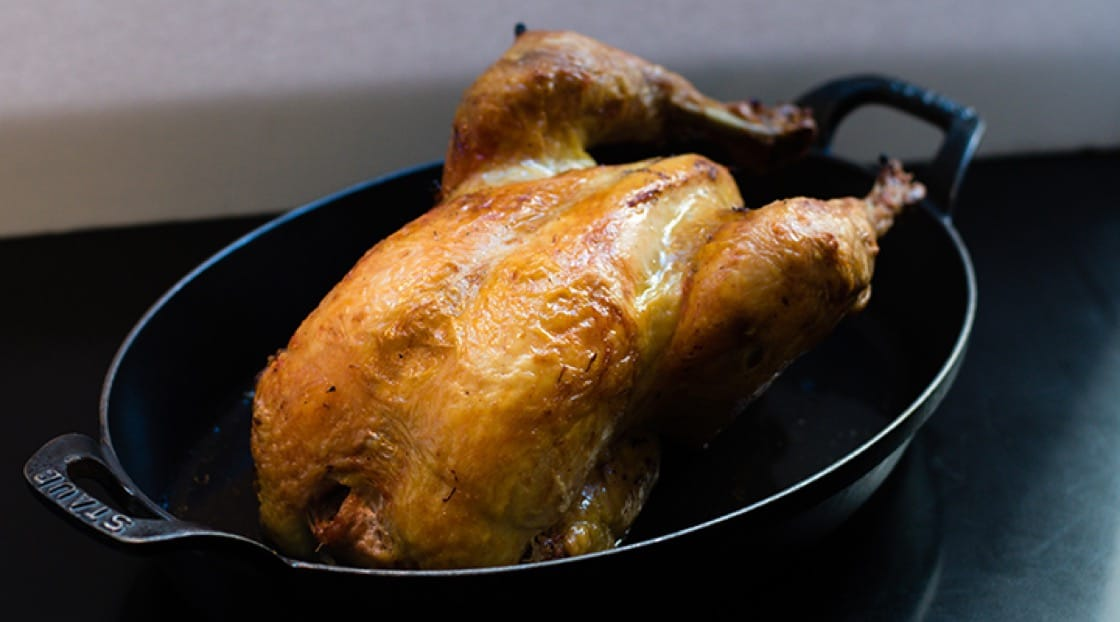 The Brune Landaise whole roasted chicken from Le Coq Rico.