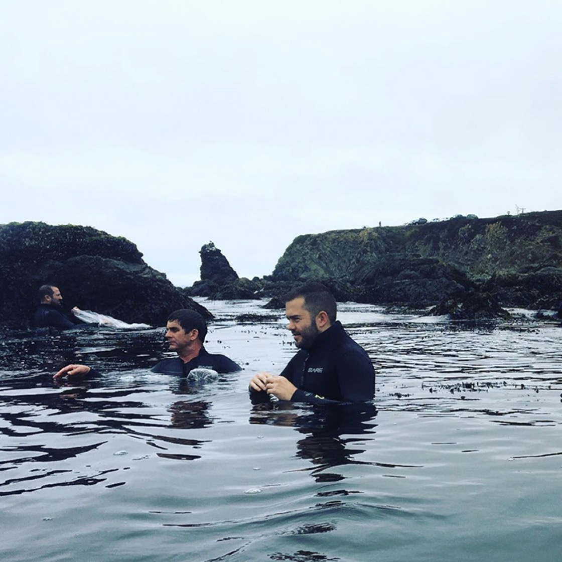 Chefs learning the ropes of seafood foraging. (Photo: Kevin Kelley.)