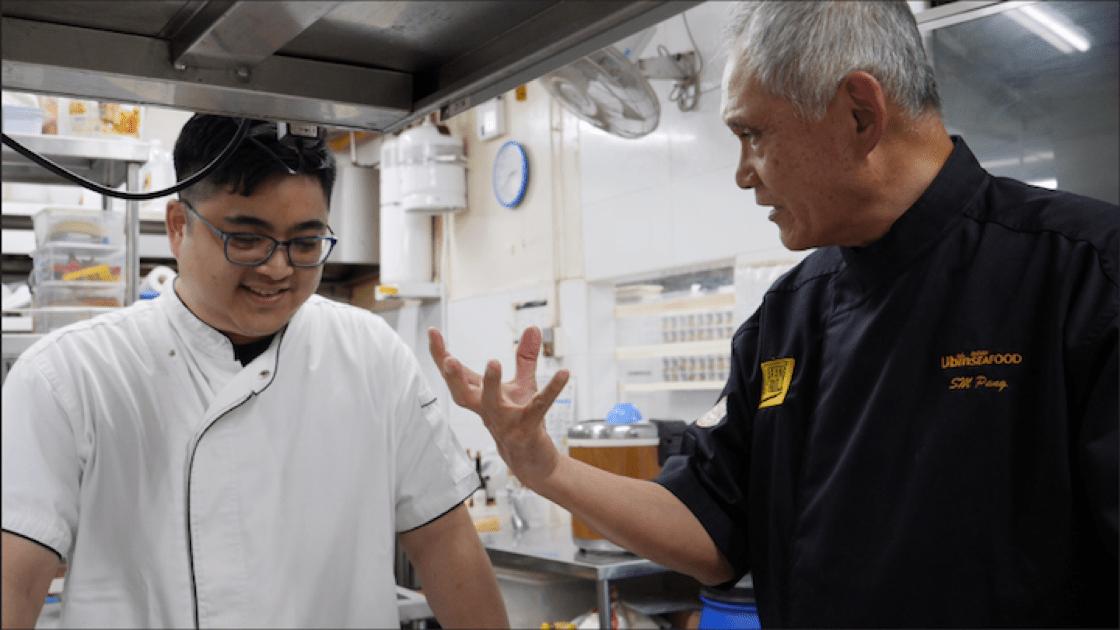 Founder of New Ubin Seafood Pang Seng Meng and his son, Alexander Pang.