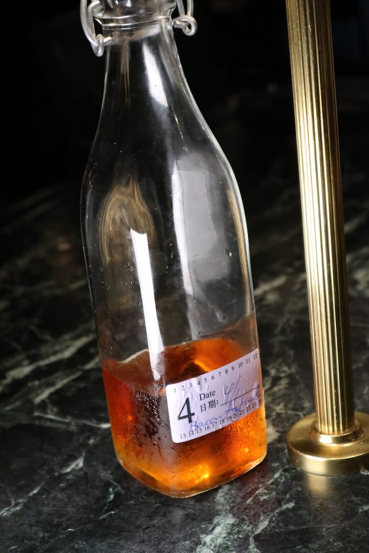 Bacon-flavoured whisky using fat-washing technique.