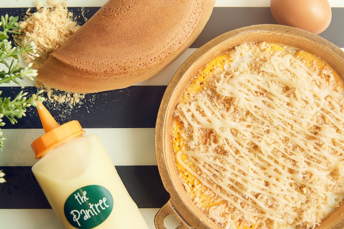 Chicken floss, cheese & egg pancake from The Pantree.