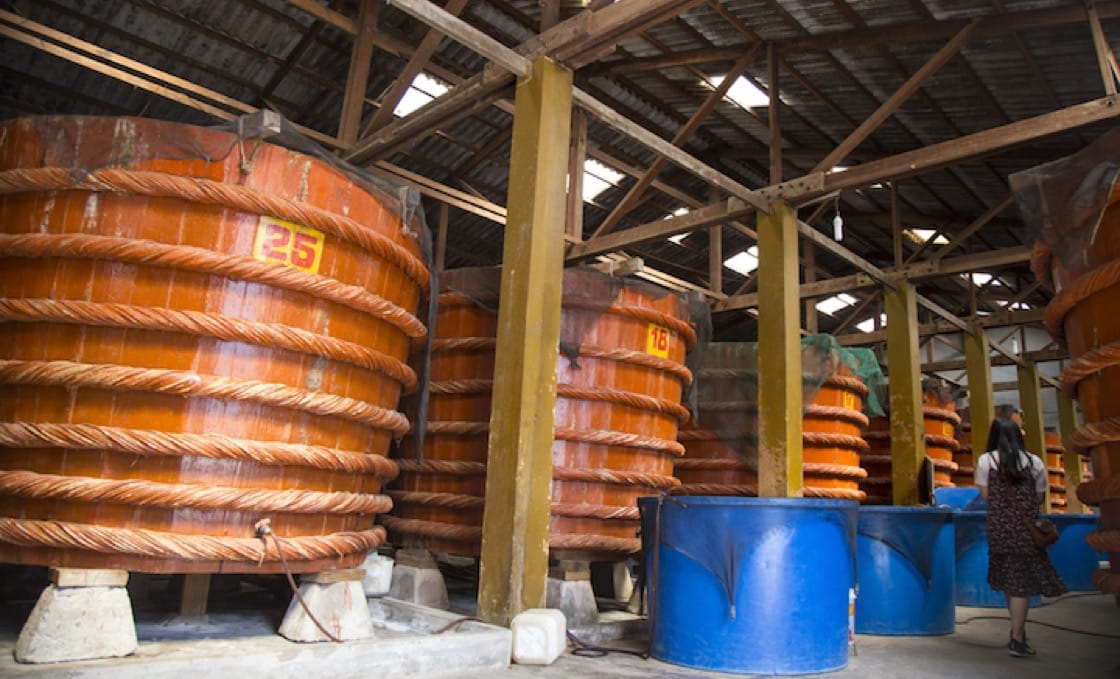 The production of Phú Quốc fish sauce in Vietnam.