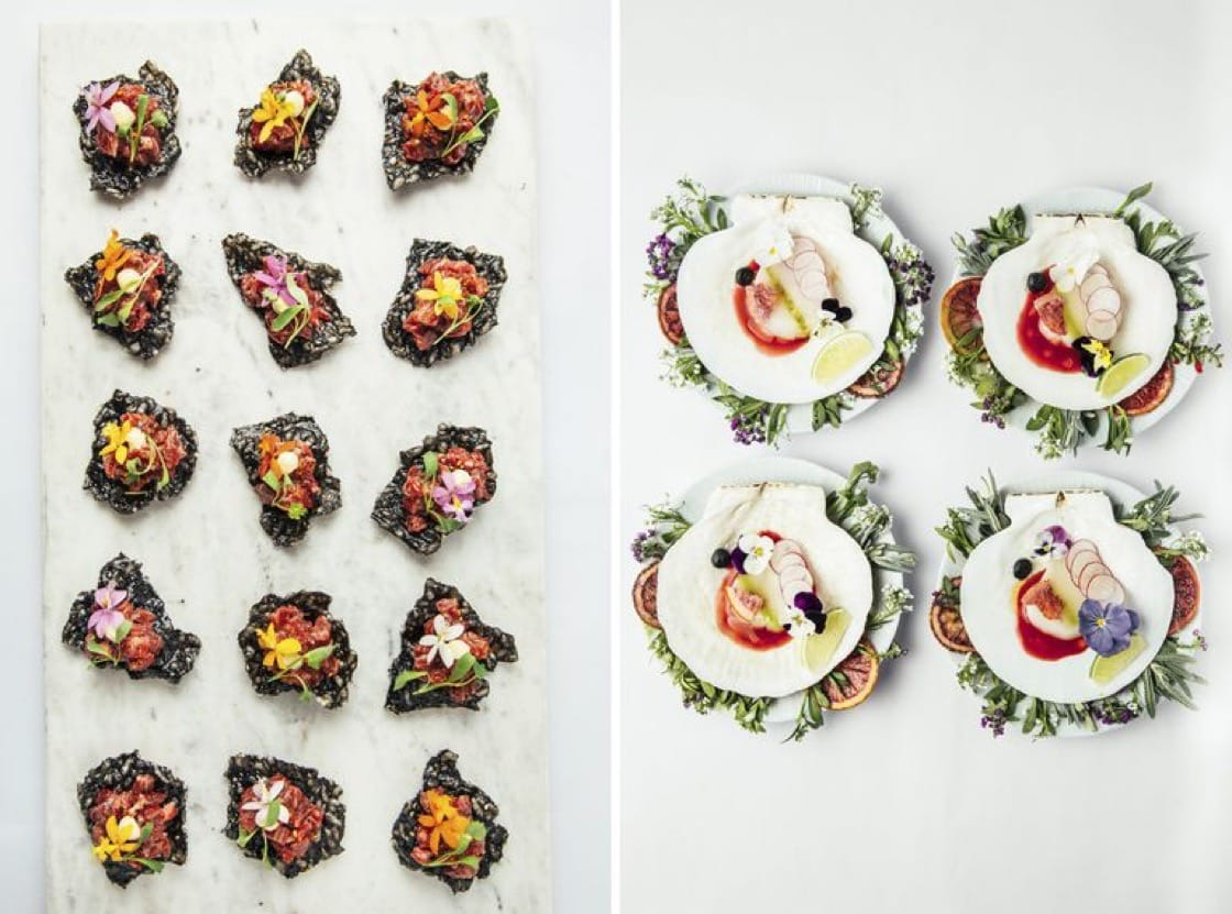 Miyazaki Wagyu beef tartare atop puffed black rice (left) and winter truffle baked cavatappi (right) are some of the canapés served at Governors Ball. (Photo: Antonio Diaz.)