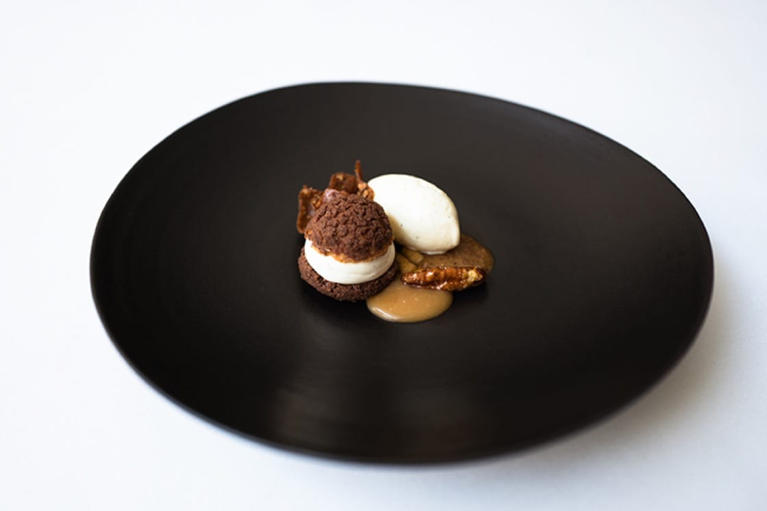 The NY-Seoul Ver. 2 features brown rice cream puffs, pecan praline and vanilla ice cream.