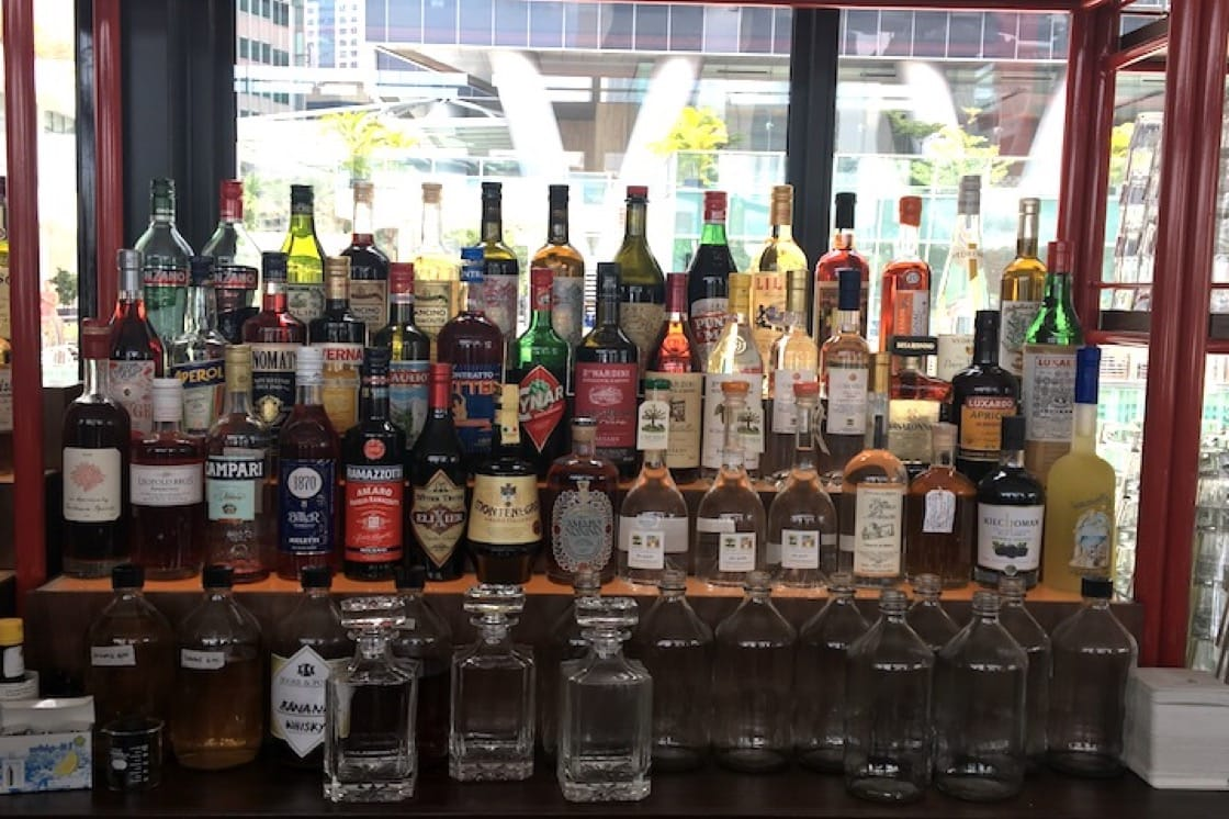 Caffe Fernet stocks up more than 50 Italian liqueurs such as limoncello, brandy, vermouth and Aperol. (Photo: Kenneth Goh)
