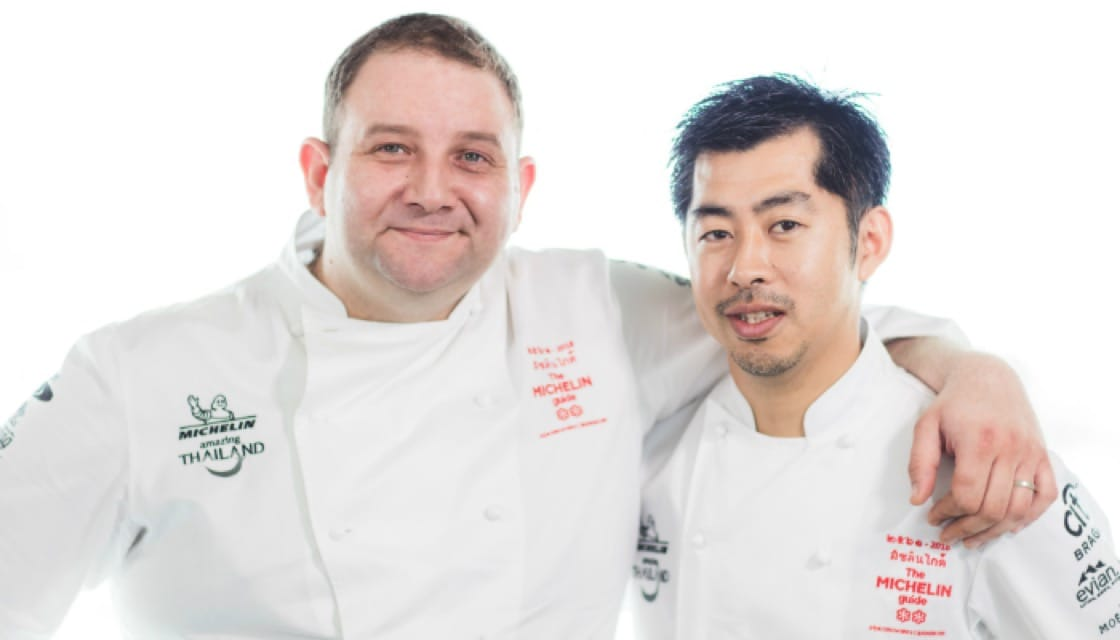 Photo Caption - From L-R: Chef Arnaud Dunand Sauthier, LeNormandie @ The Mandarin Oriental (Two Michelin Stars), Chef Ryuki Kawasaki, Mezzaluna @ lebua Hotel (Two Michelin Stars)