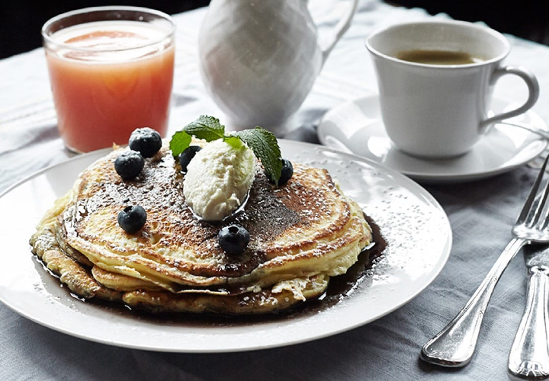 The lemon ricotta pancakes with blueberries and blueberry syrup from James.