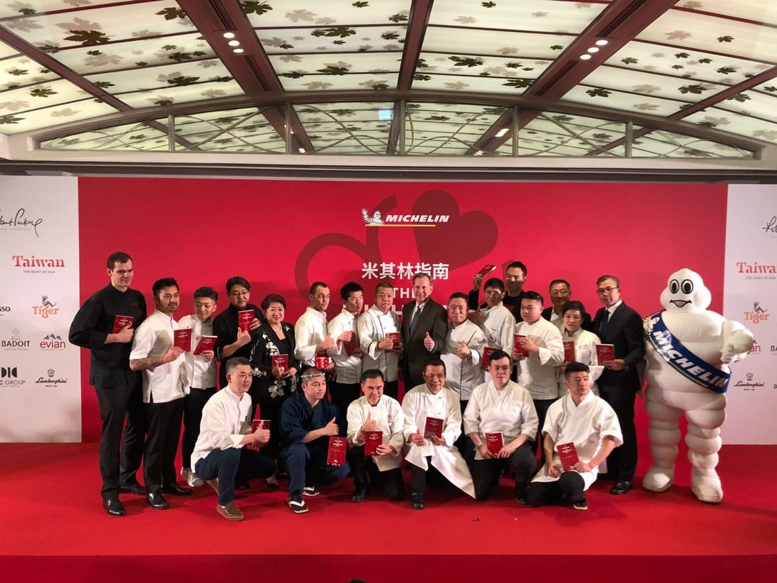 Chefs and restauranteurs from the 17 one Michelin-starred restaurants in Taipei with Mr. Michael Ellis, International Director of the MICHELIN Guides (centre).