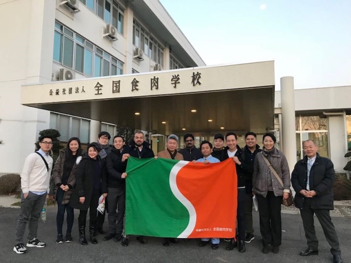 Andre Huber (4th from right) with a group of meat importers from the United States and Indonesia at the Federal Meat Academy in Gunma, Japan.