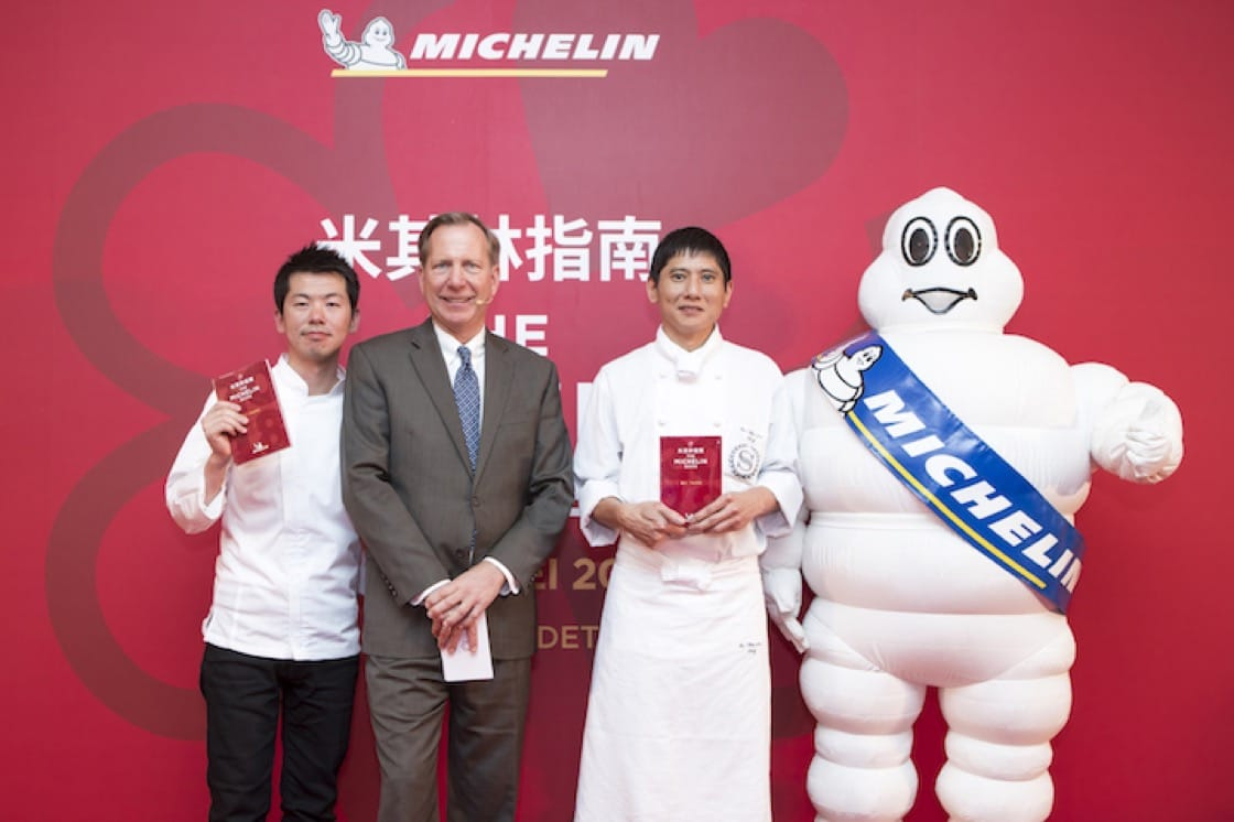 Chefs from two Michelin-starred restaurant: (from left) Chef Ryohei Hieda of Ryu Gin and Chef Lin Chen Chin of The Guest House.