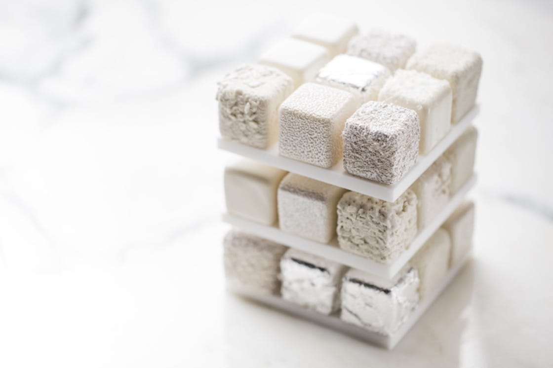 Chef Grolet's Rubik's Cube Cakes that were created six years ago got food critics to pay attention to him. Every year, he injects new elements to the evolved cakes. (Photo by Pierre Monetta)