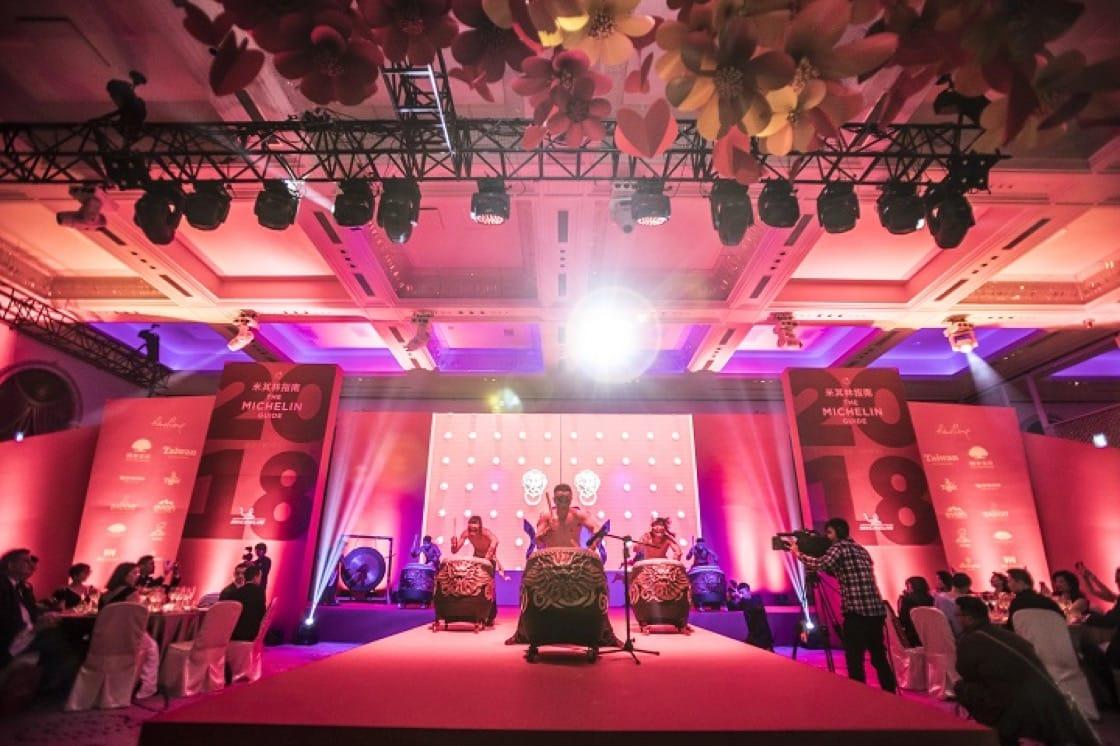 九天民俗技藝團的擊鼓表演,為晚宴揭開序幕。