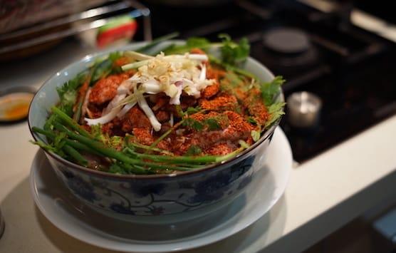 雪蓮製作的水煮牛肉(攝影:陳志雄)