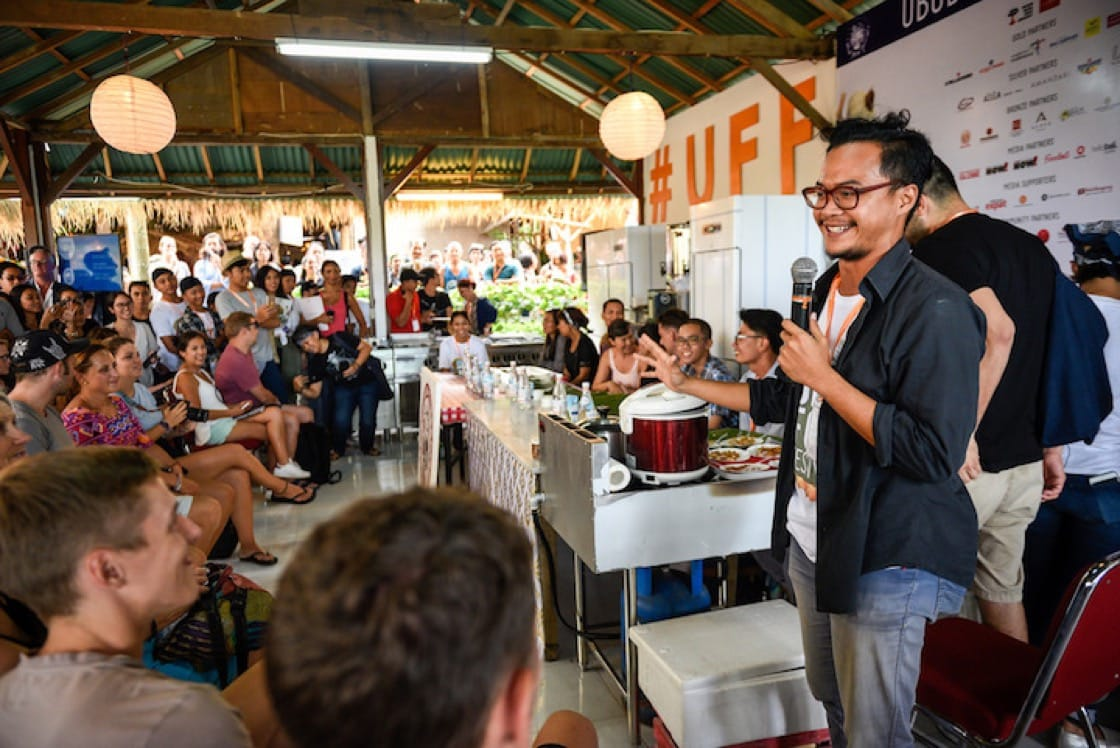 A sambal eating contest at Teater Kuliner at Ubud Food Festival. Photo: Matt Oldfield.