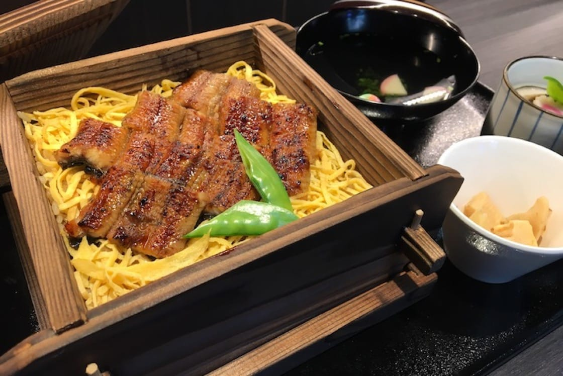 Seiro Munshi—the grilled unagi is steamed with tare-infused rice and shredded egg. (Credit: Kenneth Goh)