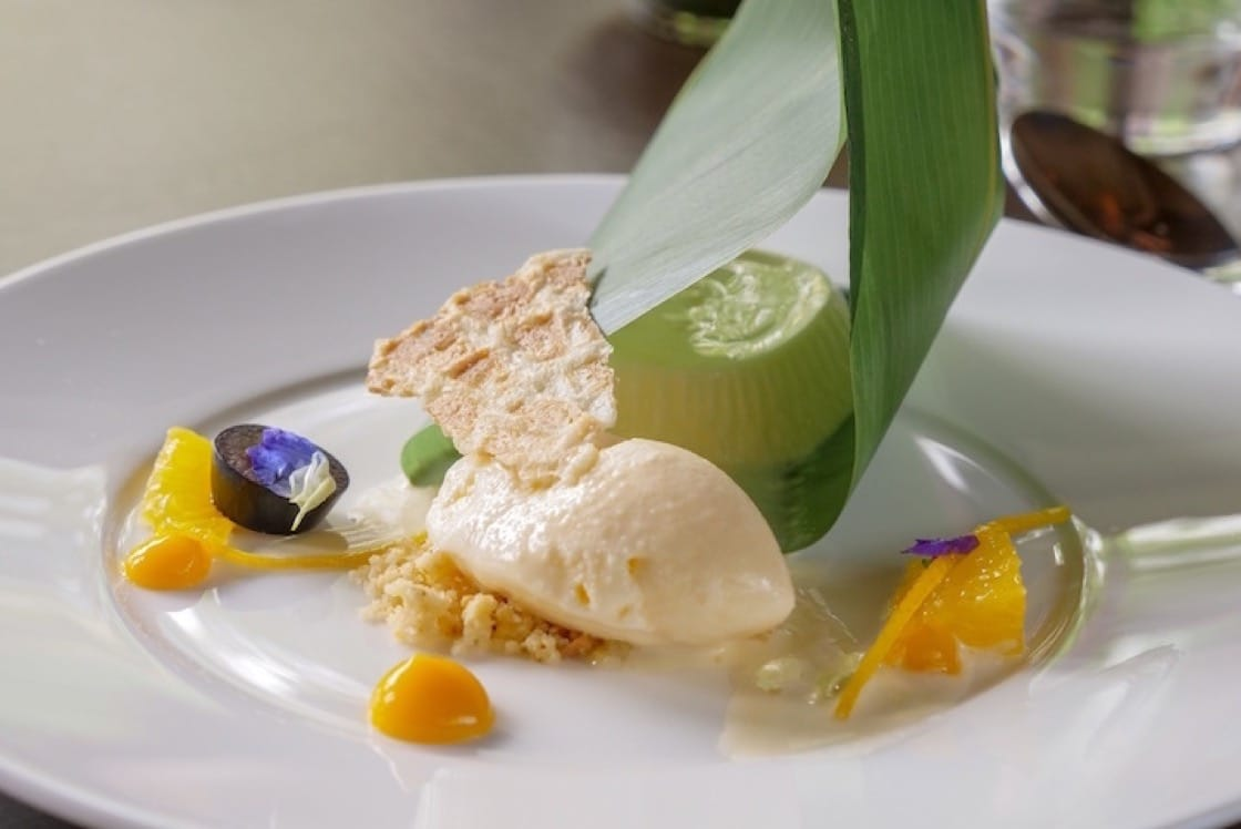 Jasmine panna cotta, jasmine rice ice cream, jasmine tuile (Pic: Resorts World Sentosa).