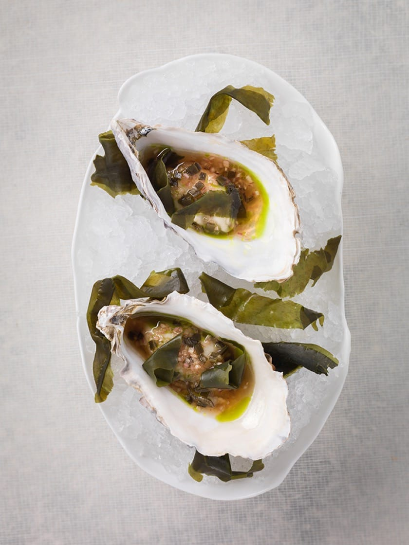 Another Keating signature: oyster with seaweed mignonette.