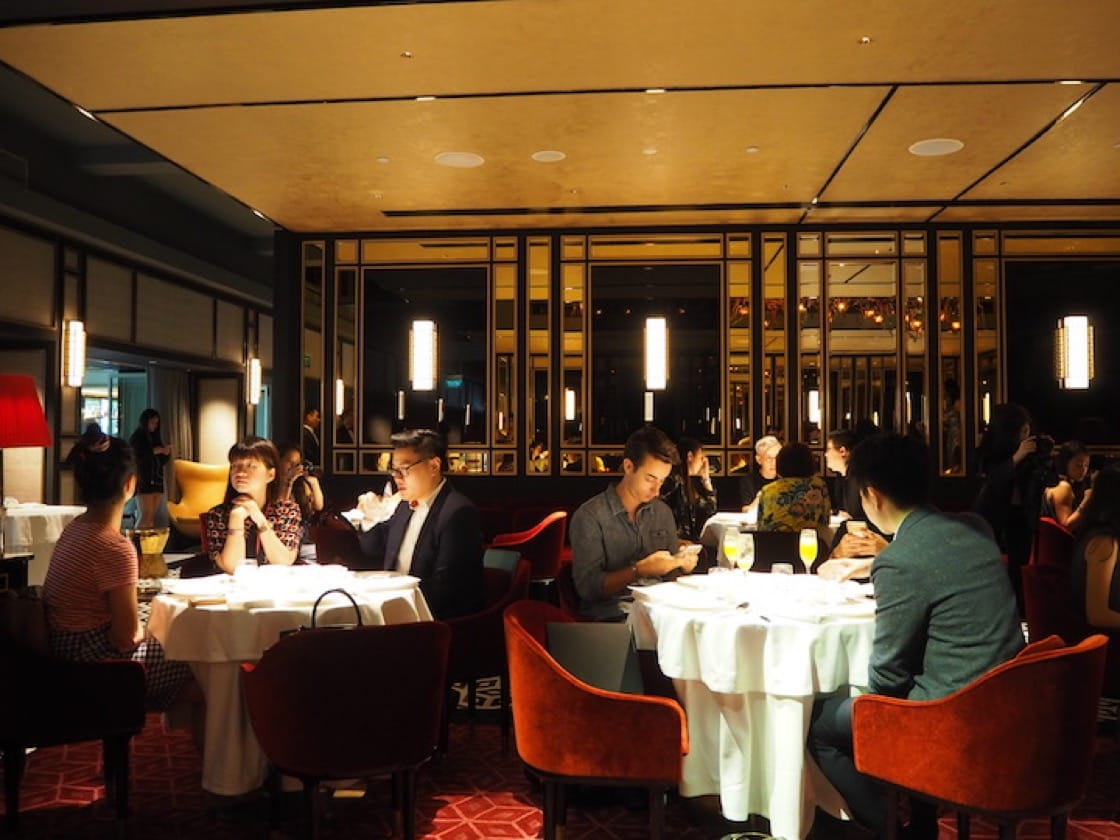 The classy main dining room at Madame Fan is a throwback to dinner clubs in the post-war era.