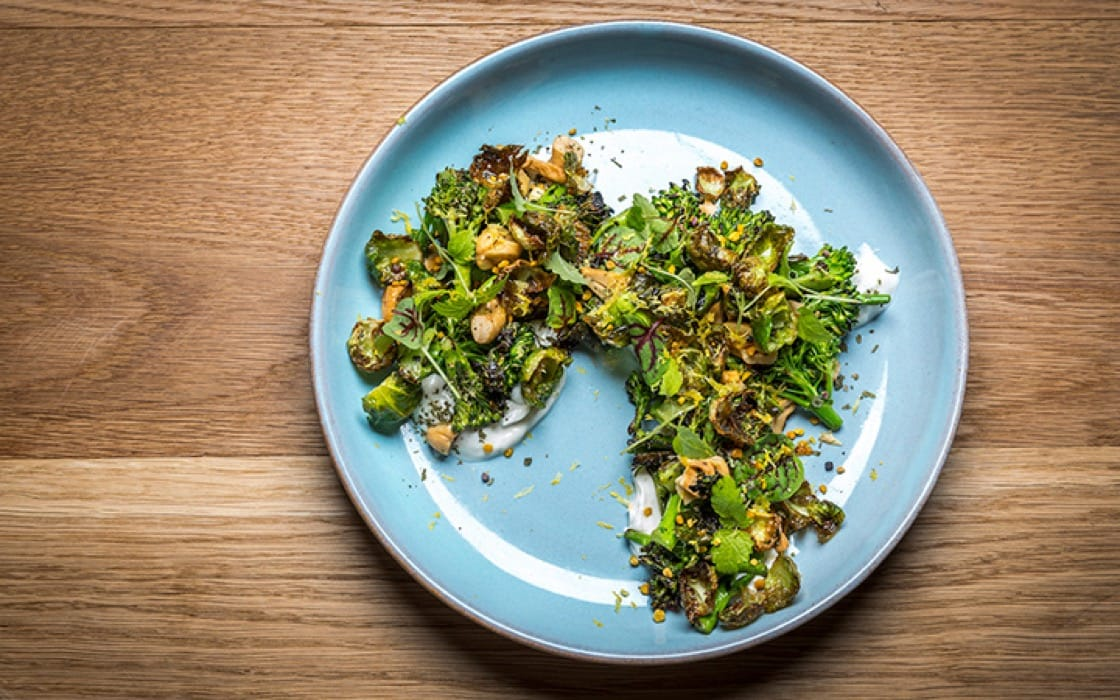 Charred broccolini with timur yogurt and cashews. (Photo courtesy of Ferris.)