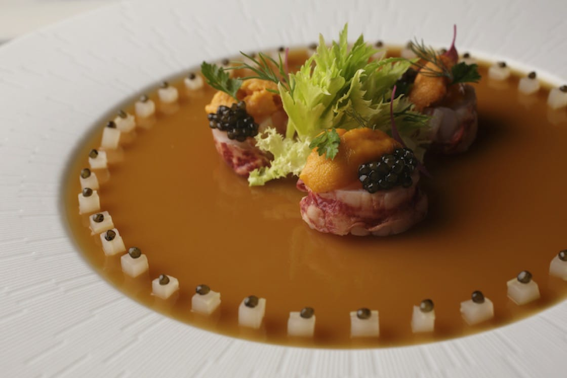 A signature dish of blue lobster jelly.