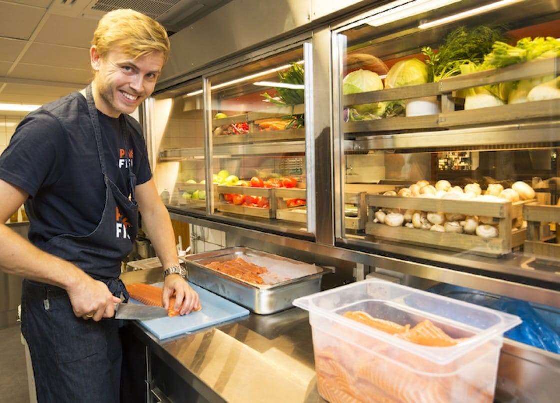 Norwegian chef Geir Skeie hopes to serve more salmon dishes in a fast-food setting.