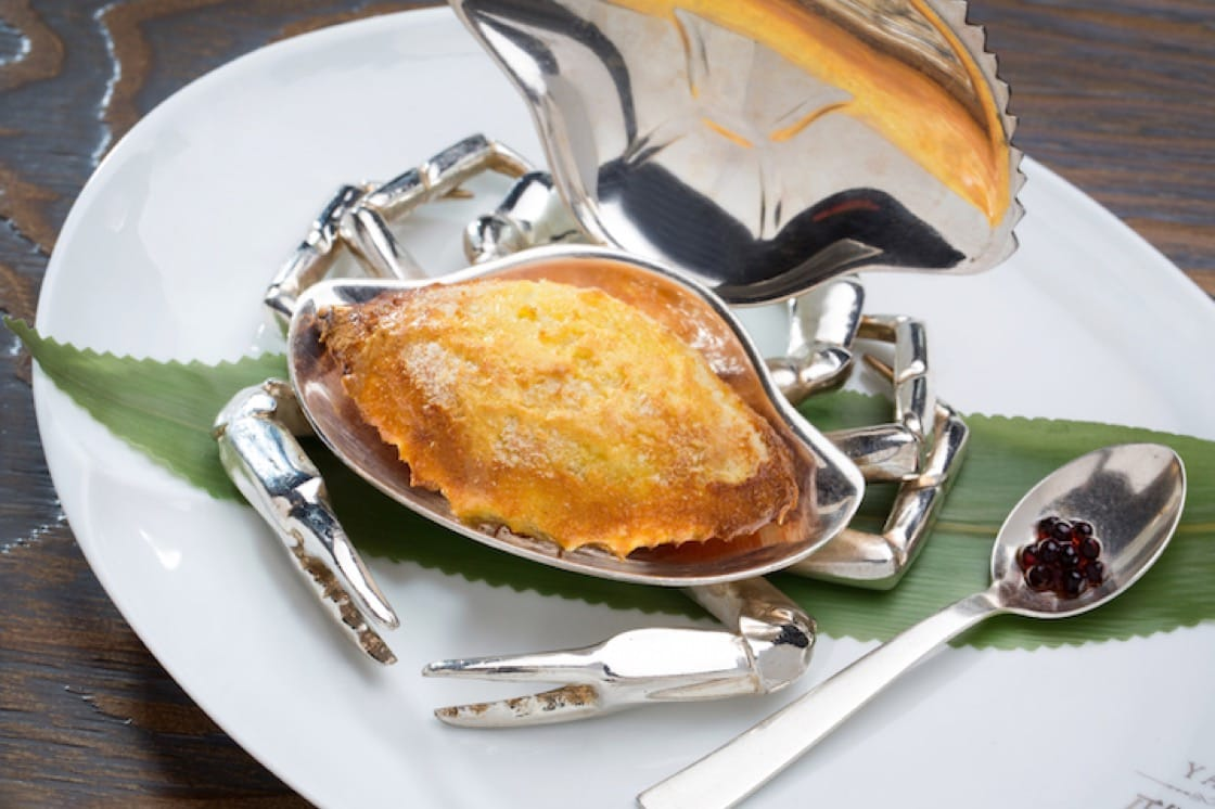 Over-baked crab meat with onion