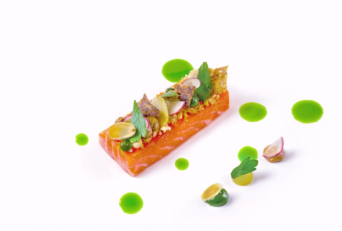 Forelle Müllerin Art - trout, parsley, almond. Photo credit: Resorts World Sentosa.