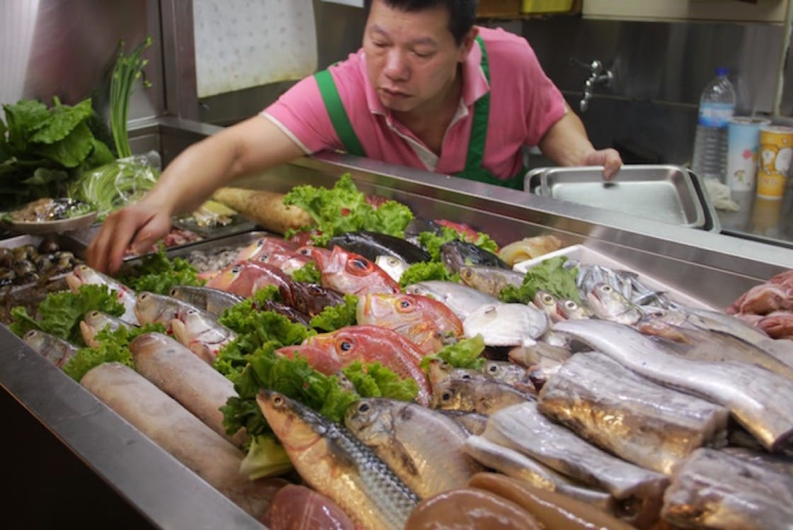 Fresh seafood is delivered daily to the restaurant. (Credit: Drew Zheng)