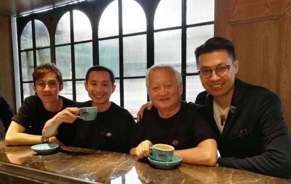 (from left) Owners of A Noodle Story, Ben Tham, Gwern Khoo with Mr Khoo's father and Tian Tian Plus founder, Mr Charles Choi (Credit: Gwern Khoo)