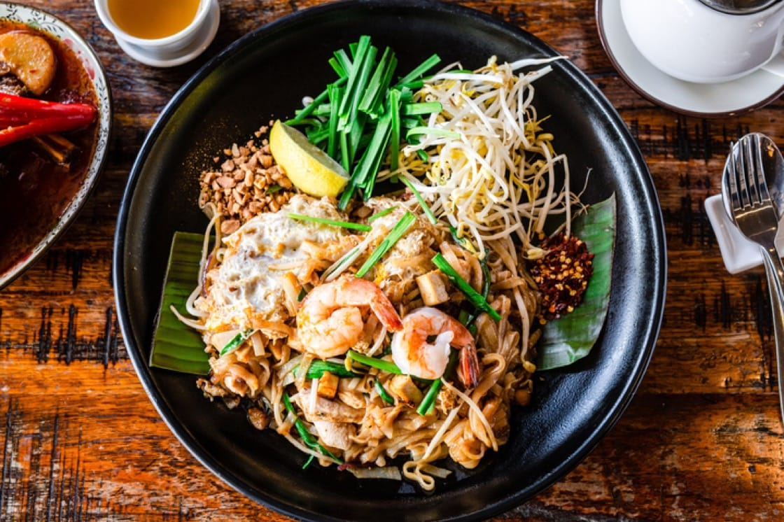 Riesling and Chenin Blanc make good pairings for spicy pad thai.