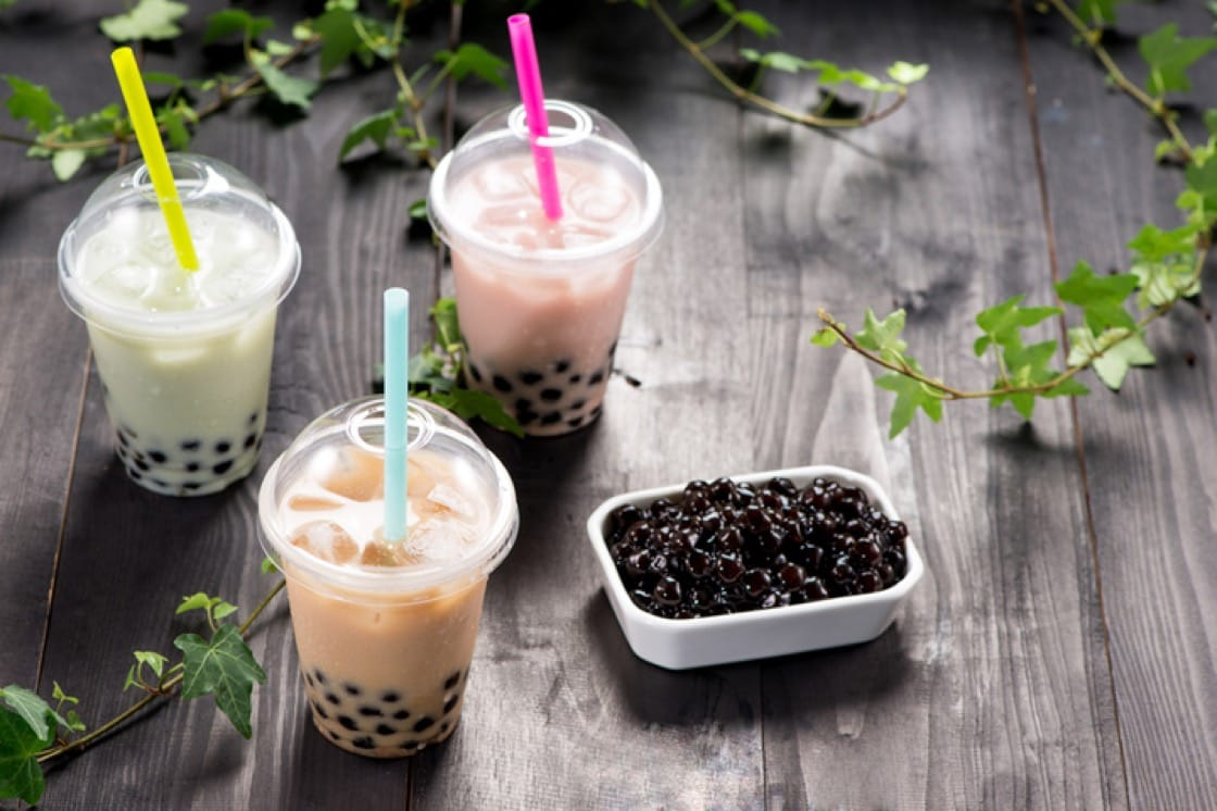 Bubble tea pearls are made from tapioca starch which is derived from cassava.