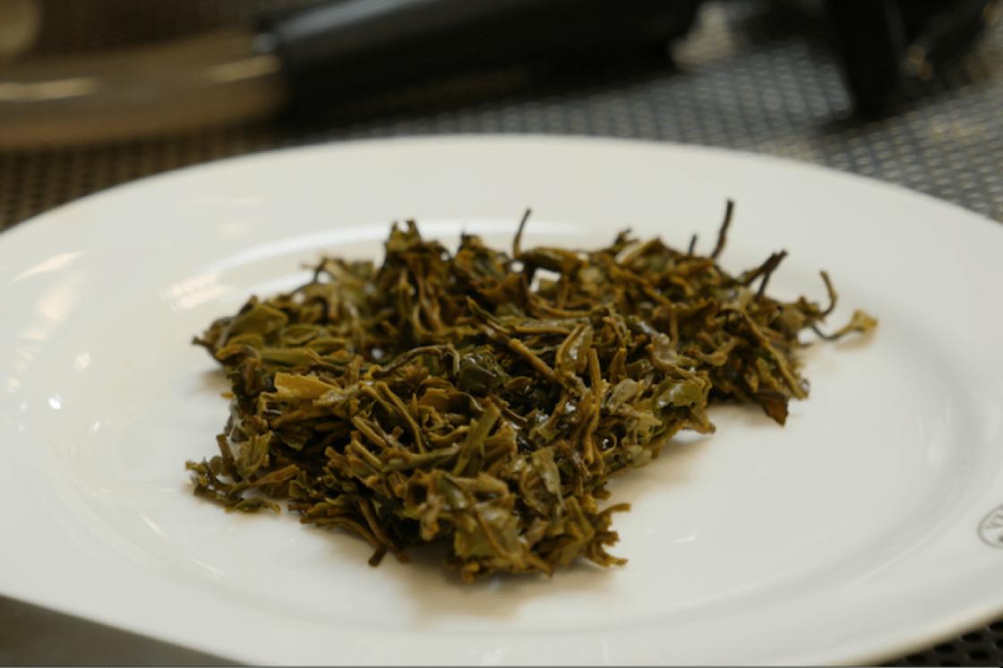 沖泡過的潮濕茶葉。