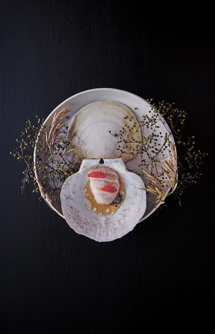 Scallops, its roe and elderflower. (Photo by Gentl and Hyers.)