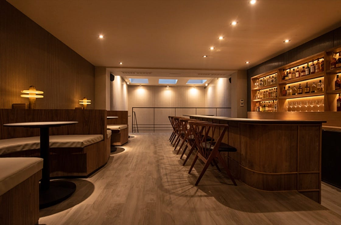 The first floor bar and lounge at Atomix. (Photo by Evan Sung.)
