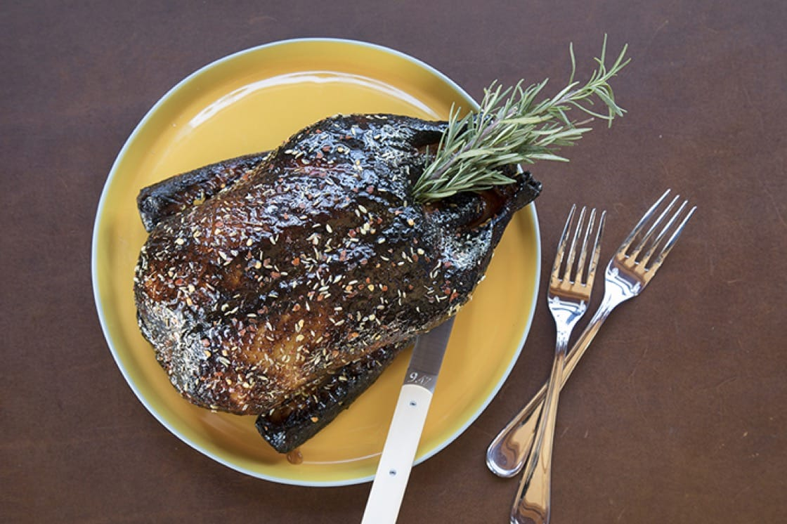 The honey-lacquered duck for two is on offer for $80. (Photo by Robyn Lehr.)