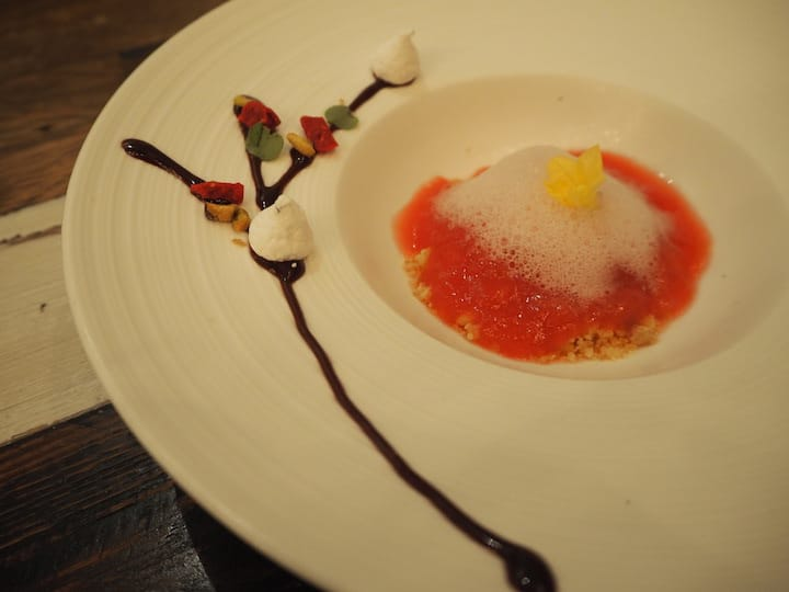 Watermelon jelly with jasmine flower curd and cheese (Credit: Kenneth Goh)