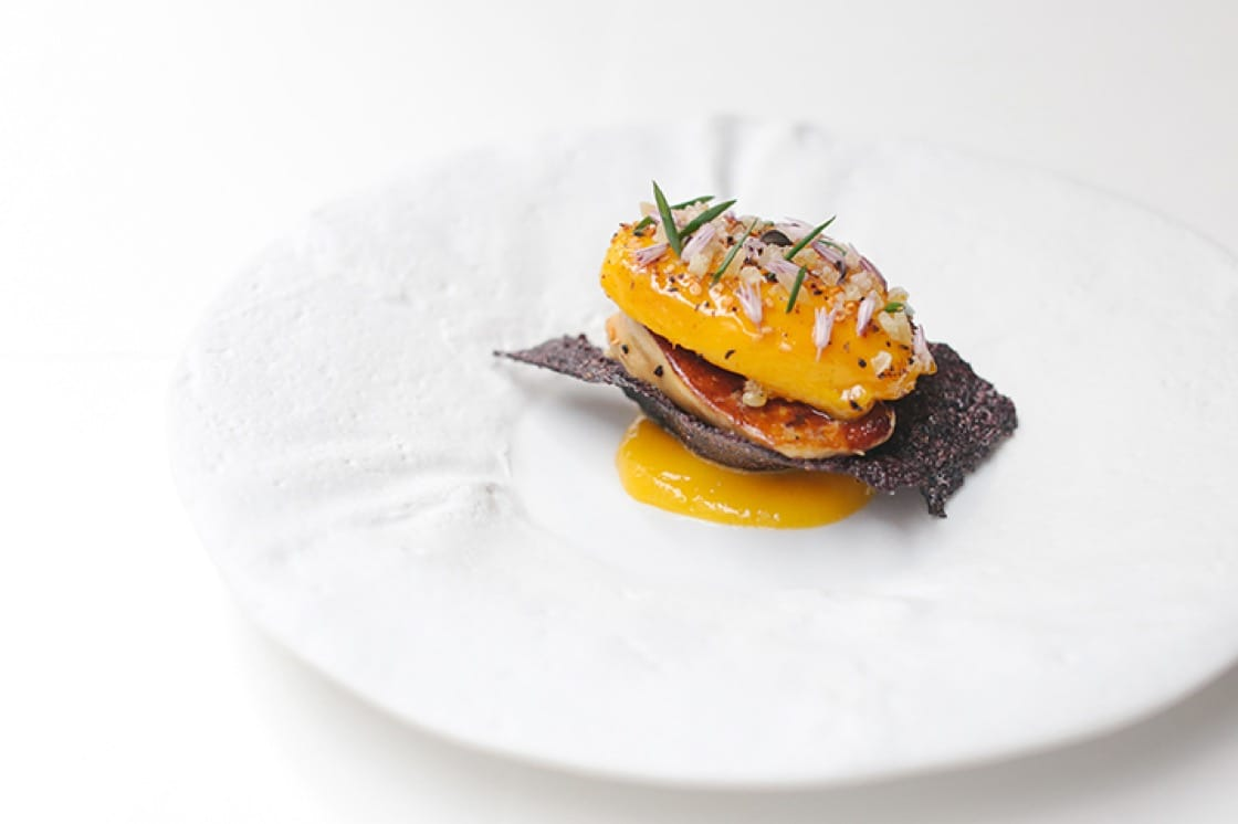Glazed Egyptian mango with foie gras, candied ginger and MINA Spice.