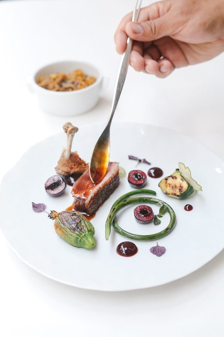 Spiced squab and foie gras with koshary rice, zucchini and Brooks cherry.
