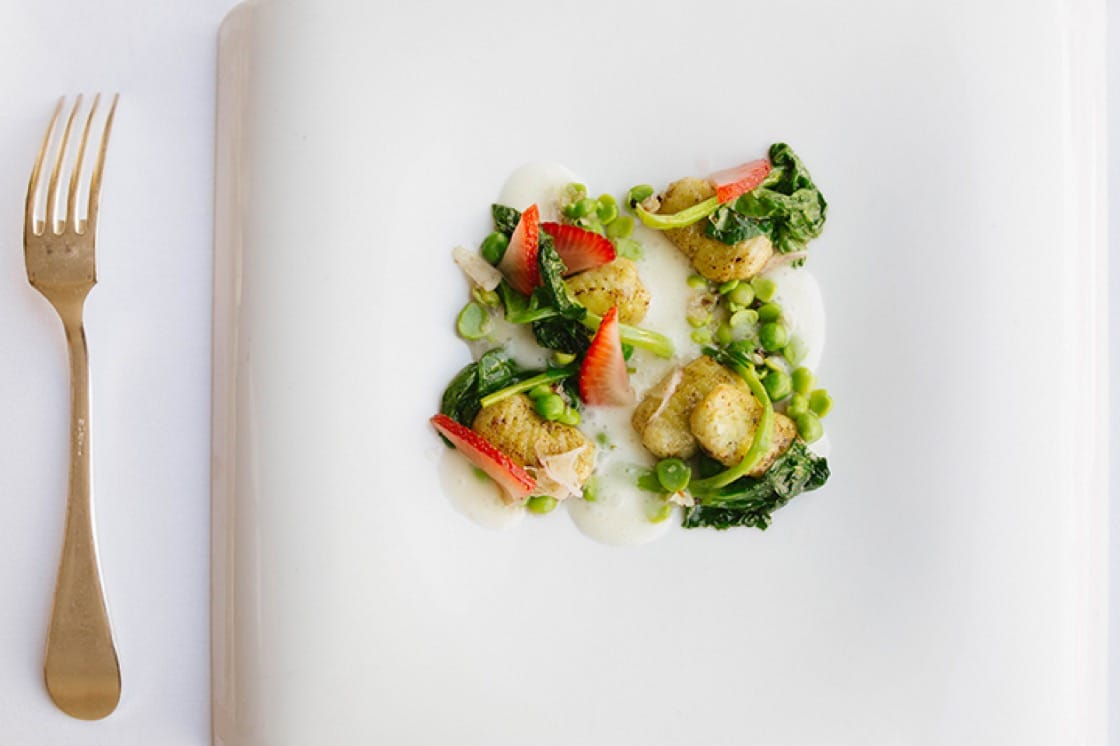 English pea and buttermilk gnocchi. (Photo: Sandy Noto.)