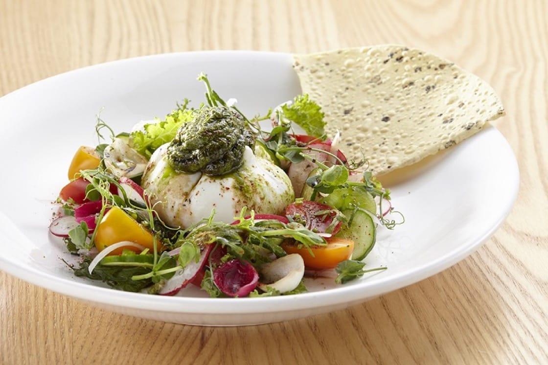 Joseph Bistro's signature green masala burrata cheese salad