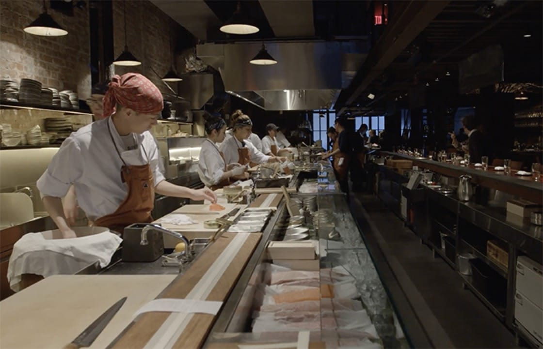 An open kitchen greets guests as they enter Tetsu.