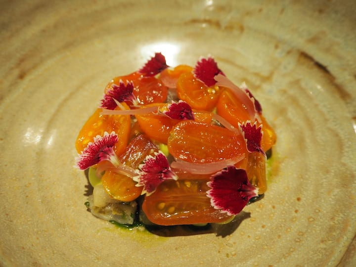 Japanese sea bream tartare with avocado, tomato and yuzu