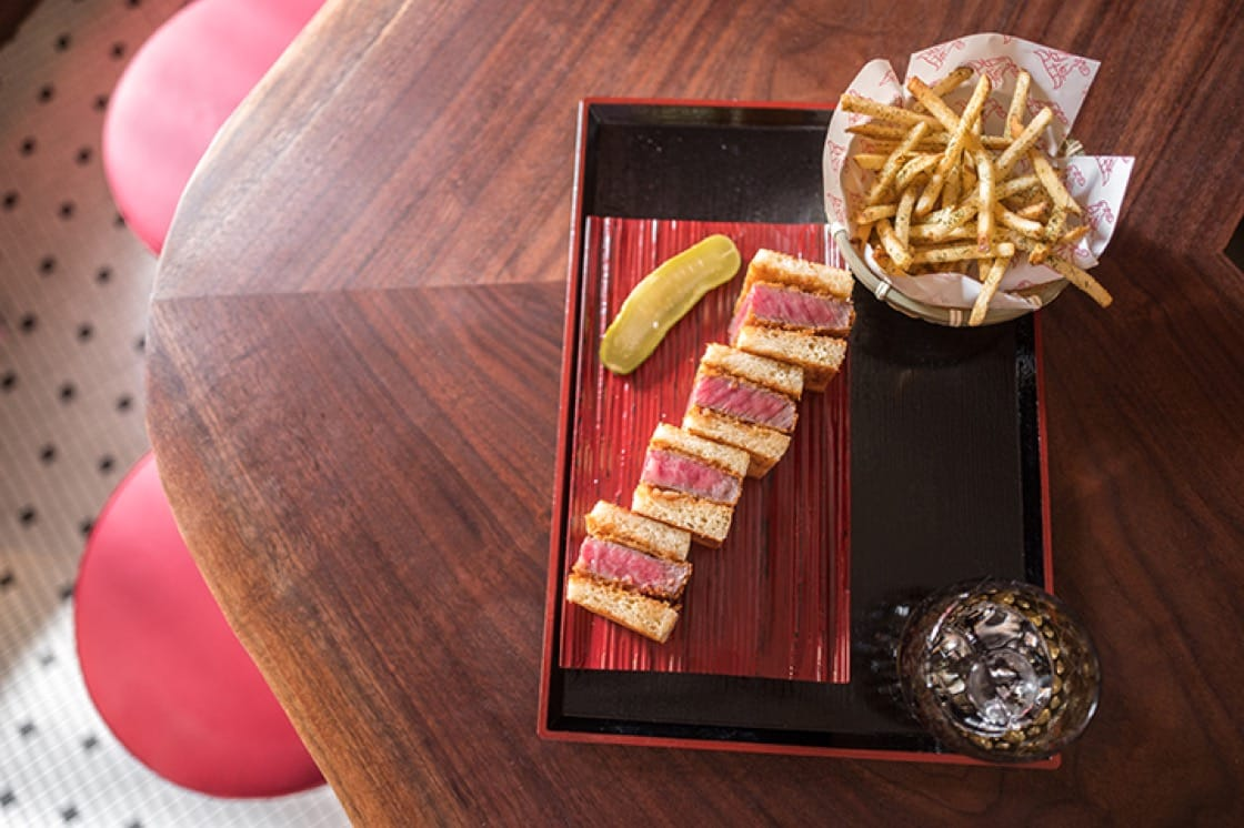 All wagyu katsu sandwiches are served with salt-and-nori fries and a pickle.