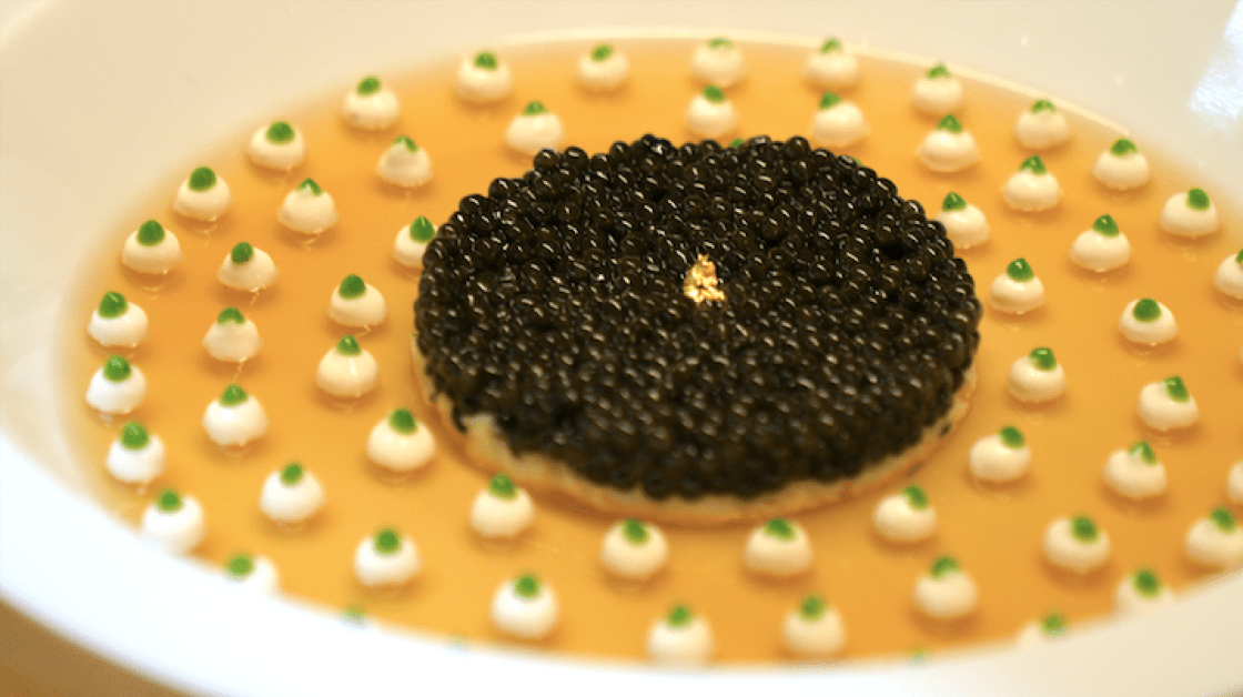 One of Robuchon's signature dishes, Le Caviar. (Imperial caviar and king crab refreshed with crustacean jelly and light cauliflower cream.)